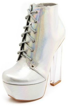 Charlotte Russe Clear Heel Iridescent Lace-Up Bootie