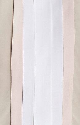 BCBGMAXAZRIA Kayli Silk Color-Blocked Cutout Top