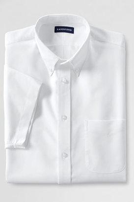 Lands' End Men's Regular Short Sleeve 60/40 Blend Oxford Dress Shirt