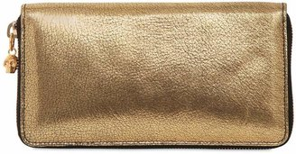 Alexander McQueen Metallic Leather Zip Around Wallet