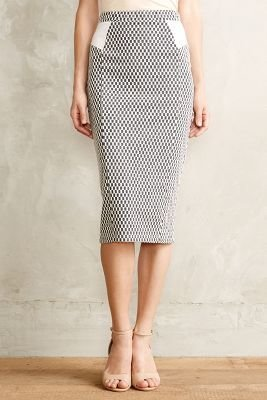 Anthropologie Maeve Checked Knit Pencil Skirt