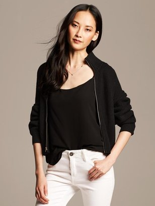 Banana Republic Black Bell-Sleeve Sweater Jacket