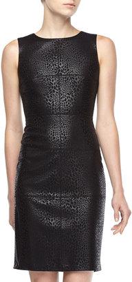 Donna Morgan Animal-Print Foil Ponte Dress, Black