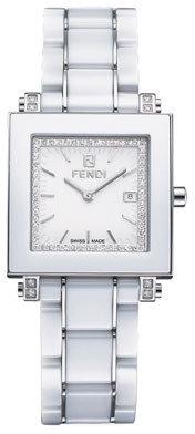 Fendi Ceramic Quadro Large Watch, White