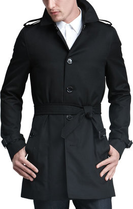 Burberry Single-Breasted Poly-Cotton Trenchcoat, Black