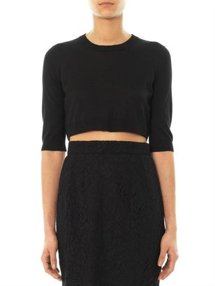 Dolce & Gabbana Cropped cashmere and silk-blend sweater