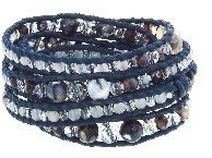 Chan Luu Grey Agate Wrap Bracelet on Blue Leather
