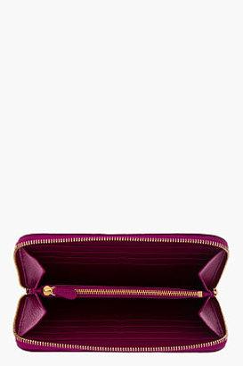 Versace Fuchsia Leather Medallion Zip Around Wallet