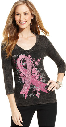 Style&Co. Top, Three-Quarter-Sleeve Pink Ribbon Tee