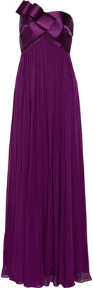 Notte by Marchesa Bow-detailed silk-satin and silk-chiffon gown