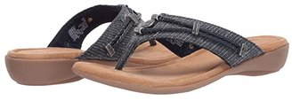 Minnetonka Silverthorne Thong (Black Leather) Women's Sandals