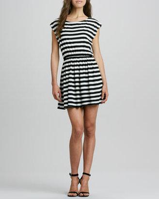 Alice + Olivia Matilda Striped Cap-Sleeve Dress