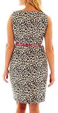 JCPenney 9 & Co.® Belted Animal Print Dress - Plus