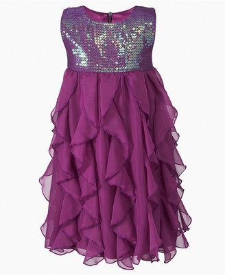 DKNY Girls Dress, Little Girls Sequin Chiffon Dress