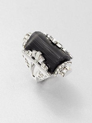 Alexis Bittar Lucite & Swarovski Crystal Barrel Ring