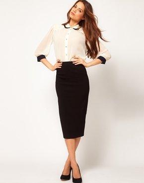 Asos Bengaline Pencil Skirt - Black