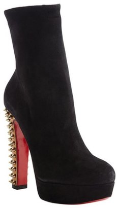 Christian Louboutin black and gold suede spike 'Taclou Booty 140' platform boots