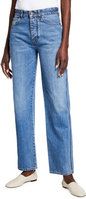 Victoria Victoria Beckham Arizona Straight-Leg Jeans with Embroidered Sides