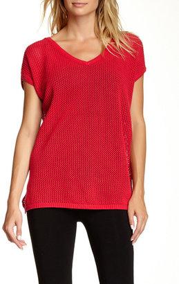 Joan Vass V-Neck Mesh Sweater $168 thestylecure.com