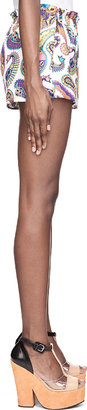 MSGM White & Purple Paisley Silk Shorts
