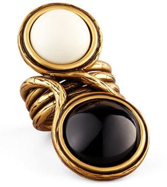 Oscar de la Renta Two-Cabochon Ring, Black/White