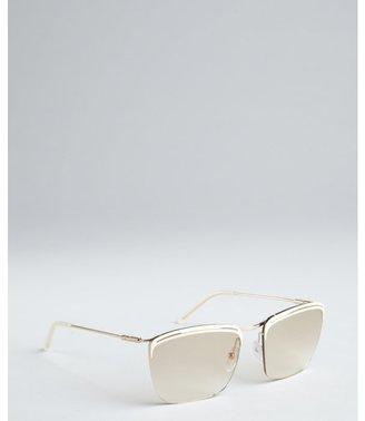 Balenciaga ivory and gold metal rimless sunglasses