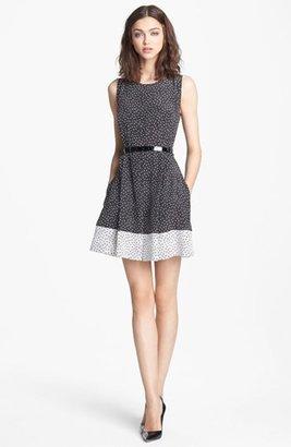 Nordstrom Miss Wu Dot Print Pleated Silk Dress Exclusive)