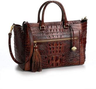 Brahmin Leather Croc-Embossed Anna Tote Bag