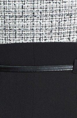 Black Halo Belted Tweed & Gabardine Sheath Dress