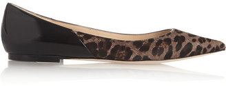 Jimmy Choo Alina leopard-print calf hair and patent-leather pumps