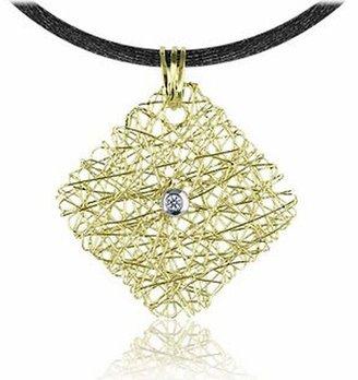 Orlando Orlandini Central Diamond 18K Yellow Gold Pendant w/Lace