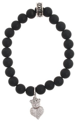 King Baby Studio - Onyx Bead Bracelet with Baby Crowned Heart Bracelet $180 thestylecure.com
