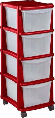 Argos Home 4 Drawer Red Plastic Tower Storage Unit