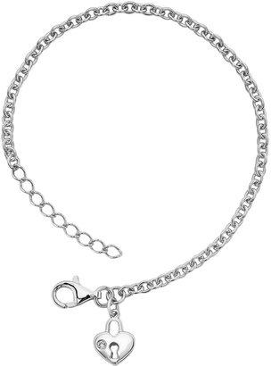 Little Diva Diamonds Sterling Silver Diamond Accent Heart Lock Bracelet - Kids