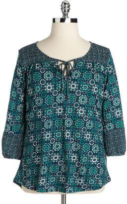 Lucky Brand WOMENS Plus Printed Peasant Top