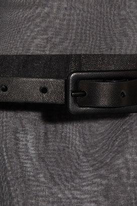 Valentino Leather-trimmed silk-organza dress
