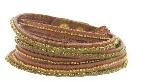 Presh Triple Olin Crystal and Gold Bead Wrap - Tan