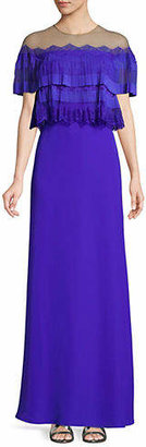 Tadashi Shoji Short-Sleeve Illusion Dress
