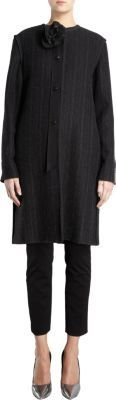 Lanvin Pinstriped Collarless Coat