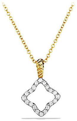 David Yurman Cable Collectibles Quatrefoil Pendant with Diamonds in Gold on Chain