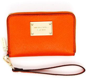 MICHAEL Michael Kors iPhone Leather Zip Wallet, Tangerine