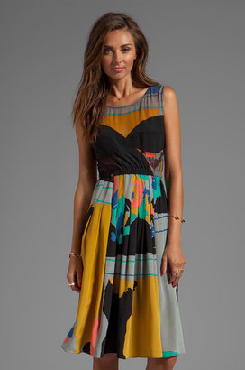 Tracy Reese Silk Prints Combo Frock With Contrast Cups