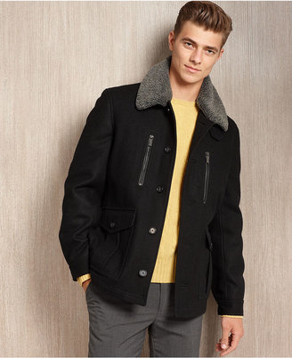 Michael Kors Jacket, Arcadia Newsboy Coat with Sherpa Collar