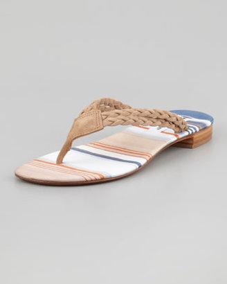 Manolo Blahnik Resina Braided Suede Thong Sandal