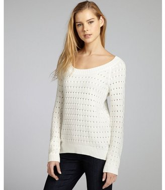 BCBGeneration chalk cotton-blend knit high-low sweater