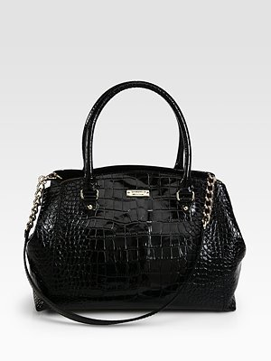 Kate Spade Sloan Patent Crocodile Embossed Leather Satchel