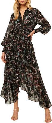 MISA Zahra Long-Sleeve Floral-Print Dress