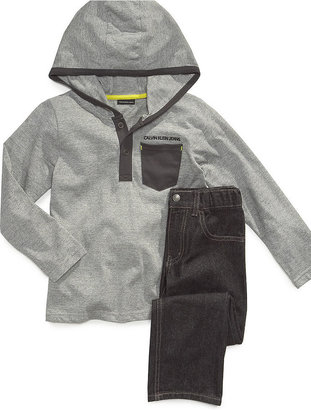 Calvin Klein Jeans Set, Little Boys End-On-End Knit Hoodie and Denim Set