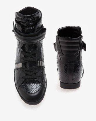 Barbara Bui Snakeskin High-top Sneaker: Black