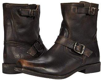 Frye Smith Engineer (Black Vintage Veg Tan) Cowboy Boots
